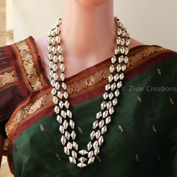 Pure Silver Dholki Beads Three Line Necklace