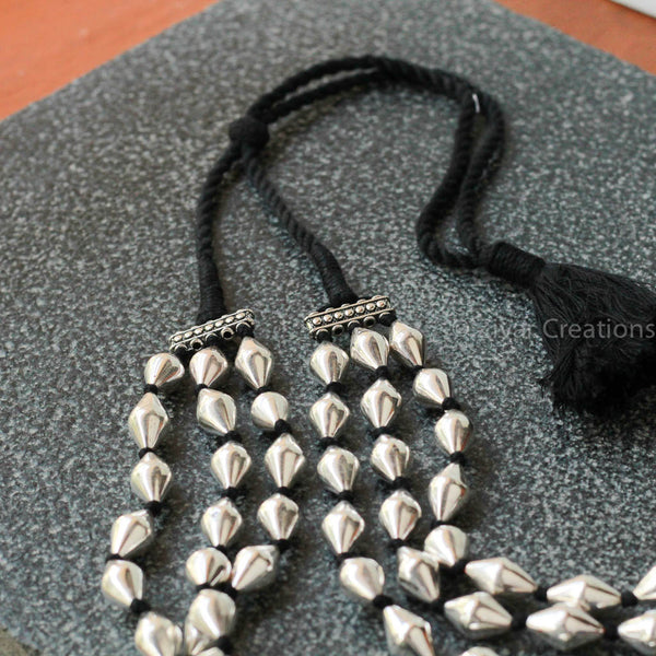 Pure Silver Bhoar Beads Three Line Necklace