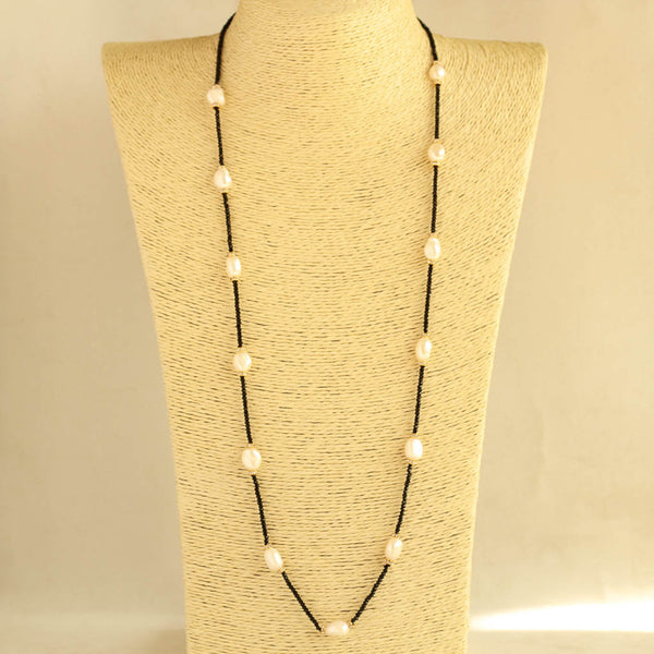 Black Beads Rice Pearl Long Necklace