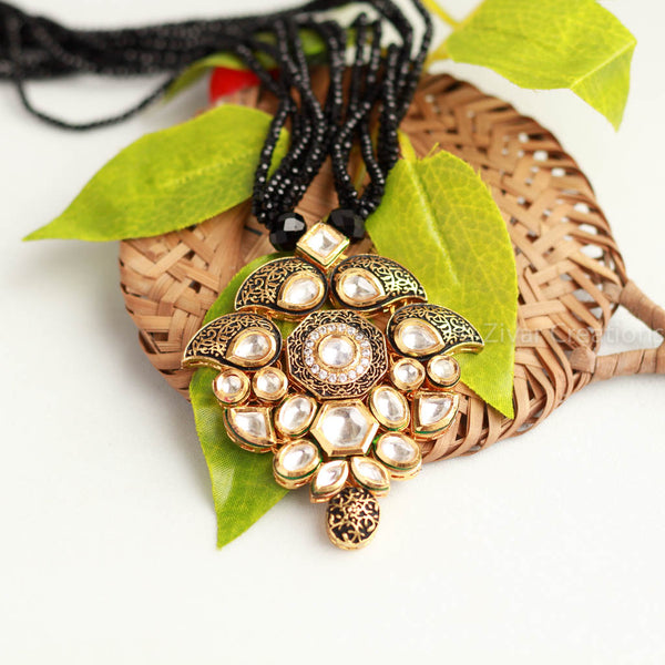 kundan Pendant Black Beads String  Necklace