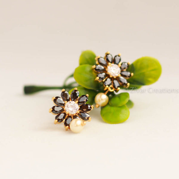 Flower Black Stones Earring