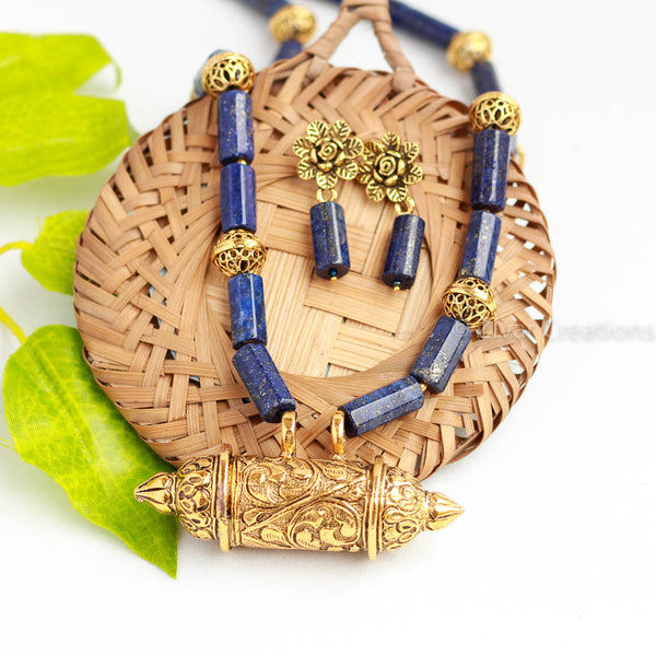 Lapiz Lazuli Golden Oxidised Necklace