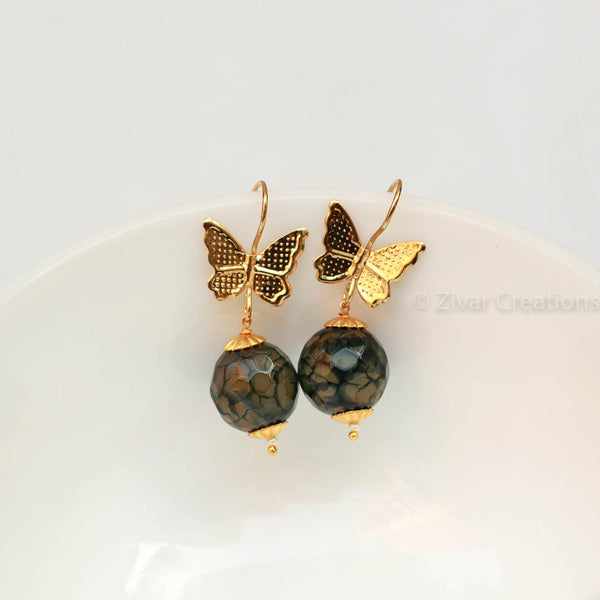 Handcrafted Butterfly Green Earring