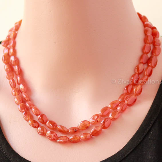 Double line Carnelian stone Necklace