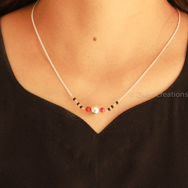 Real Coral Silver Chain Mangalsutra