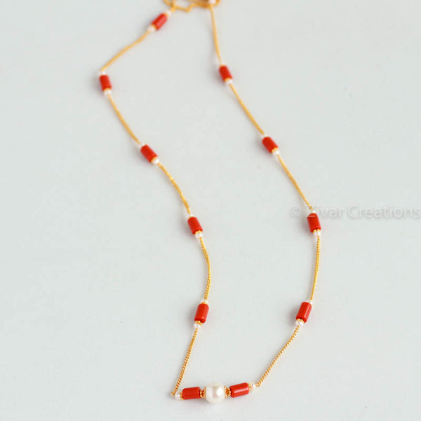 Coral Colour Beads Chain Necklace