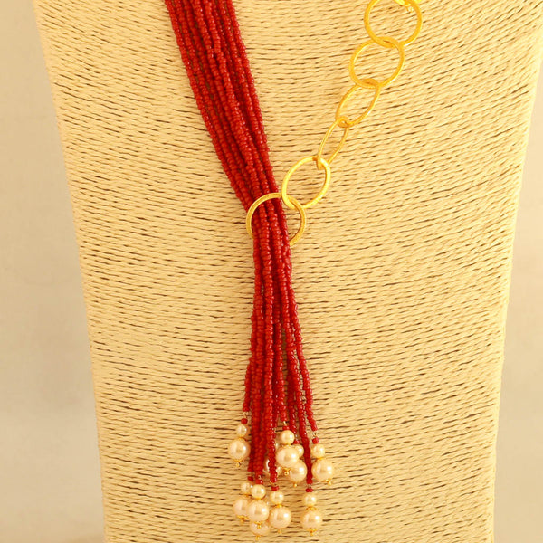 Coral Colour Beads Designer Necklace