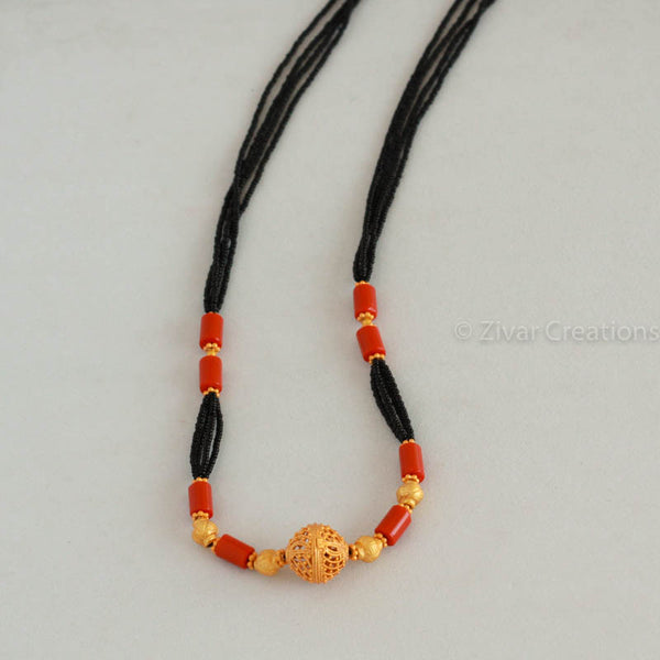 Coral Colour Beads And Matte Finish Mangalsutra