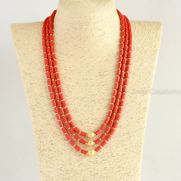 Coral Colour Beads Short Necklace