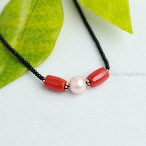 Real Coral Rice Pearl Mangalsutra