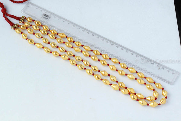 Pure Silver Gold Polish Dholki Beads Necklace