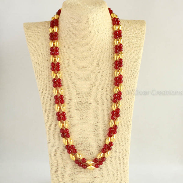 Dholki Red Beads Necklace