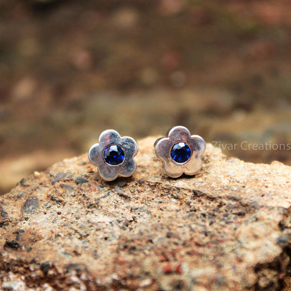 Pure Silver Handcrafted Ink Blue Stone Flower Stud