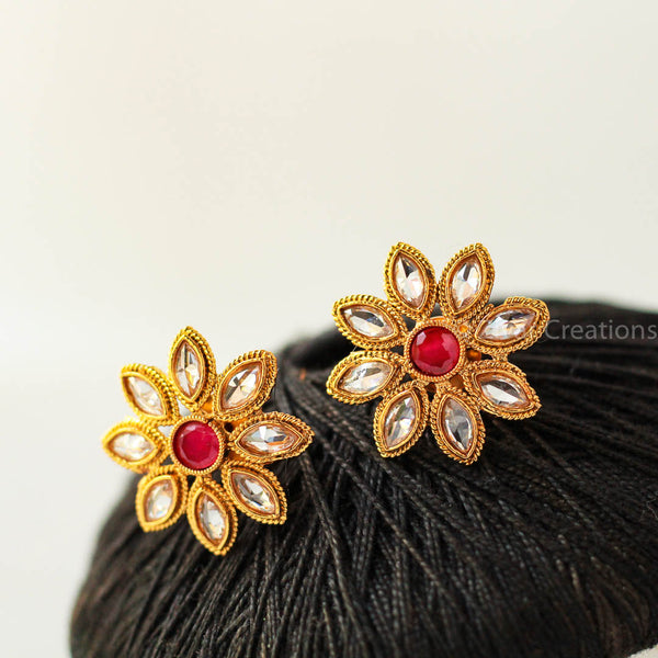 Red stone flower stud
