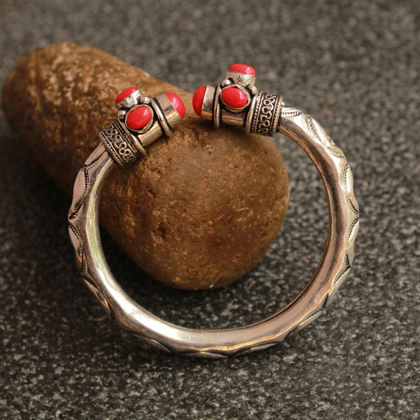 German Silver Coral Color Studded Kada