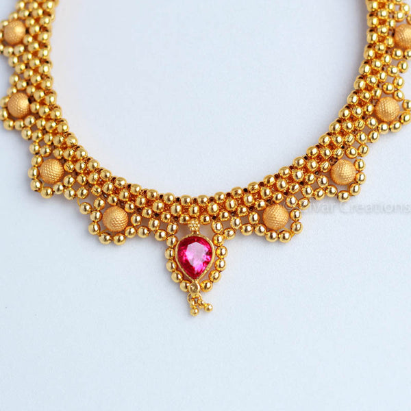 Golden Beads Jali Necklace, Indian Necklace