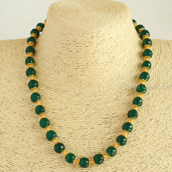 Green Semi Precious Cutting Beads Necklace