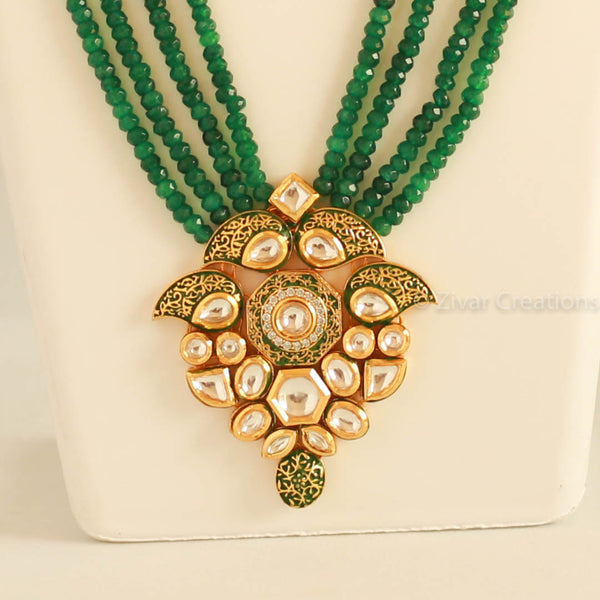 Beautiful kundan long Green Beads Necklace