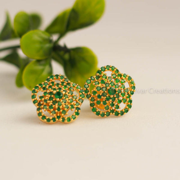 Green Stones Stud Earring