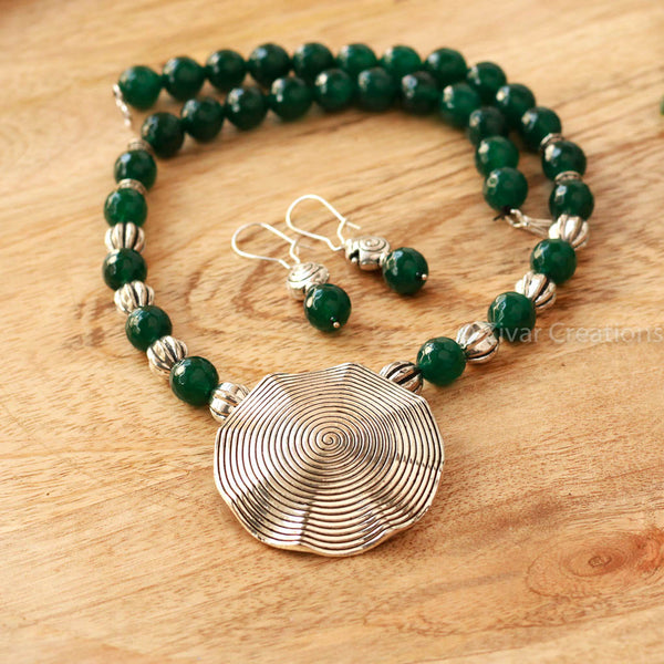 German Silver Green Beads Necklace.
