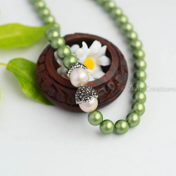 Designer Matte Green Pearl And Designer Piece Necklace