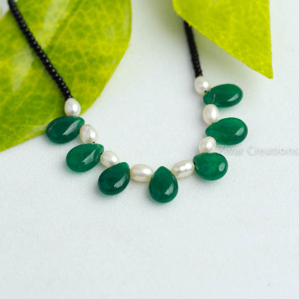 Green Drop Shape Semi Precious Mangalsutra