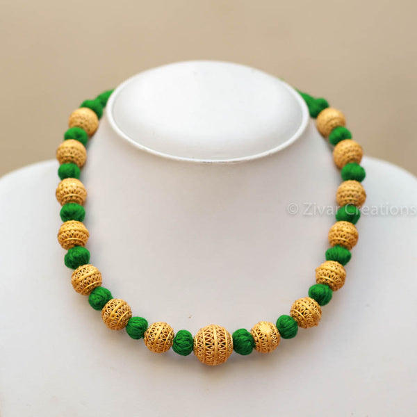 Handcrafted Small Beads Green Thread Necklace