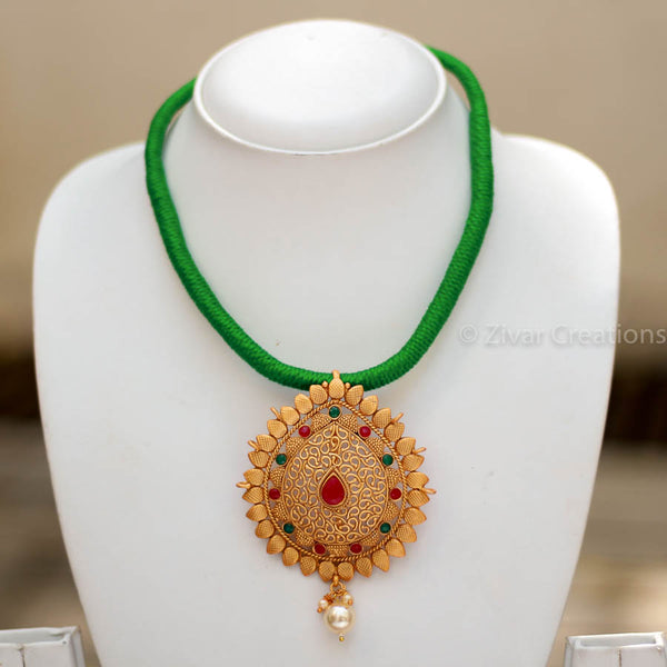 Handcrafted Green Thread Temple Necklace