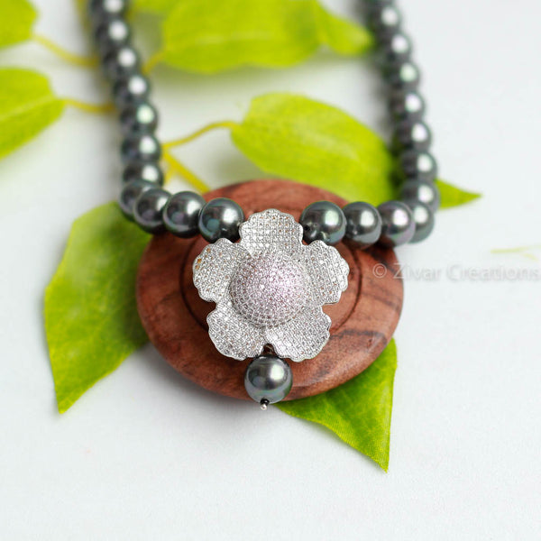 Grey Pearl American Diamonds Studded Necklace