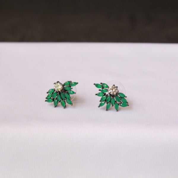Flower Emerald Oxidised Earring
