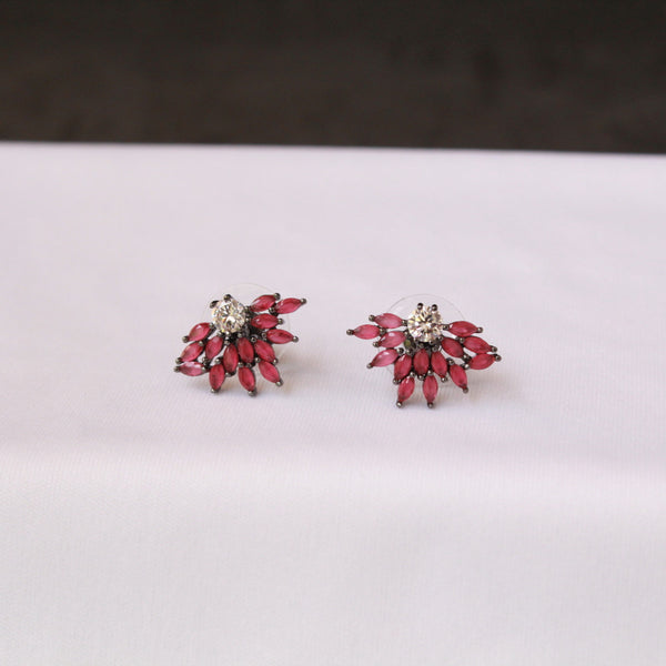Flower Designer Ruby Oxidised Earring