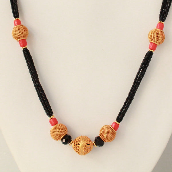 Jali Ball Coral Handcrafted Mangalsutra