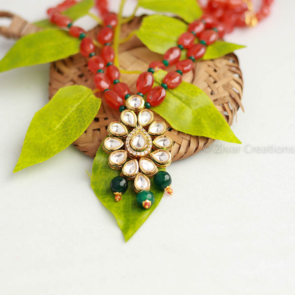 Carnelian Beads With Kundan Necklace