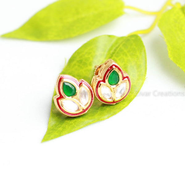 Kundan Green Combination Stud