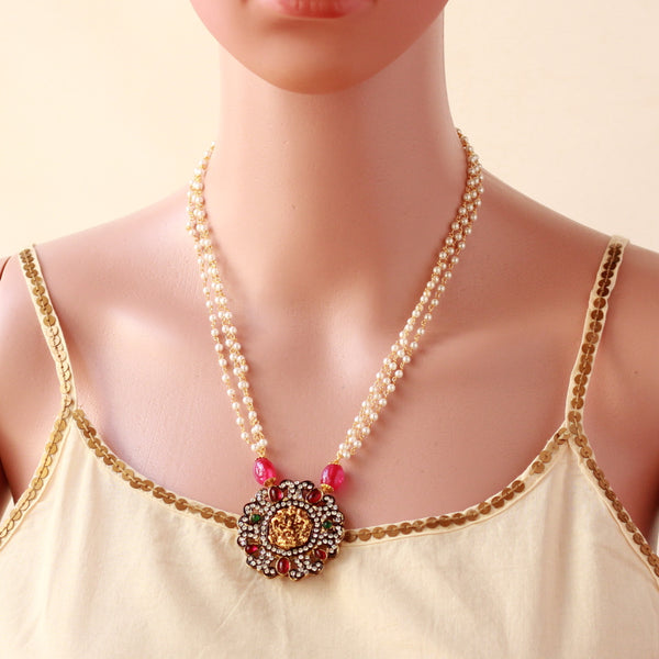 Laxmi Pendant With Pearl Chain Attached Necklace.