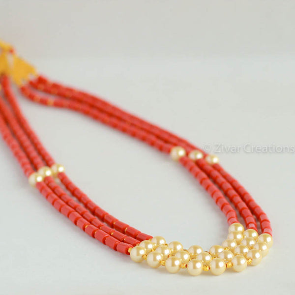Long Coral Colour Beads And Pearl Necklace