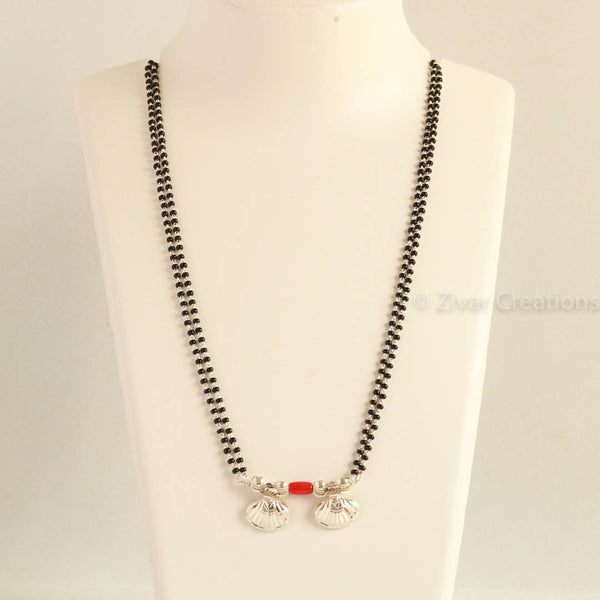 Long Silver Coral Bead Mangalsutra