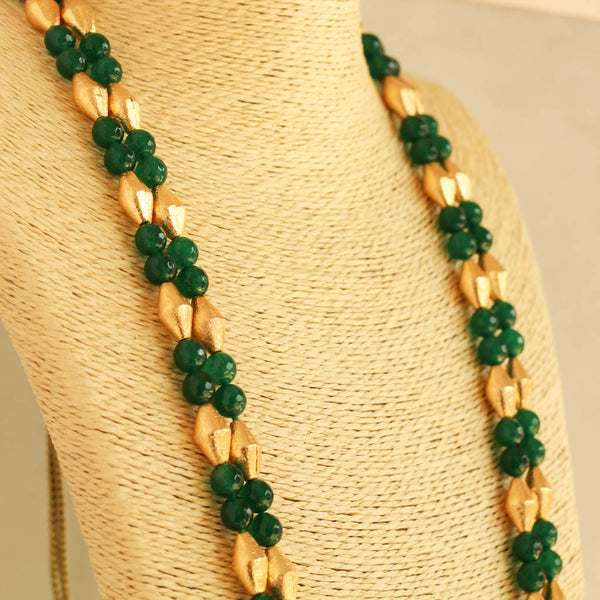 Green Beads Dholki Beads Necklace