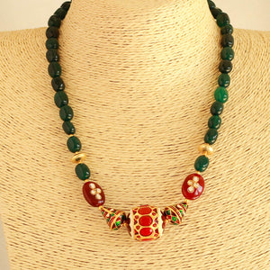 Beautiful Meena kari Green Necklace
