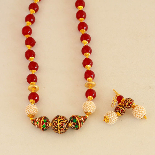 Beautiful Meena Kari Red Beads Necklace