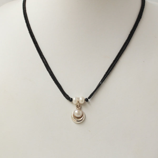 Moon and Pearl Combi Pure Silver Handcrafted Mangalsutra