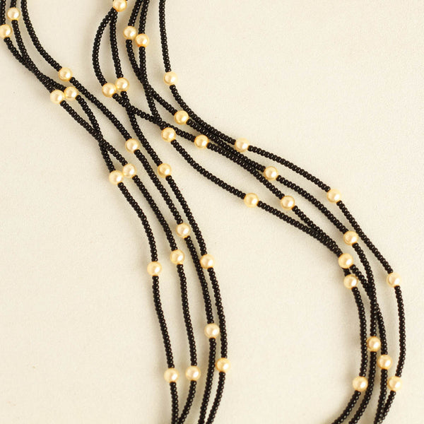 Black Beads And Pearl Long Mangalsutra