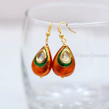 Orange and Green Kundan Studded Earring