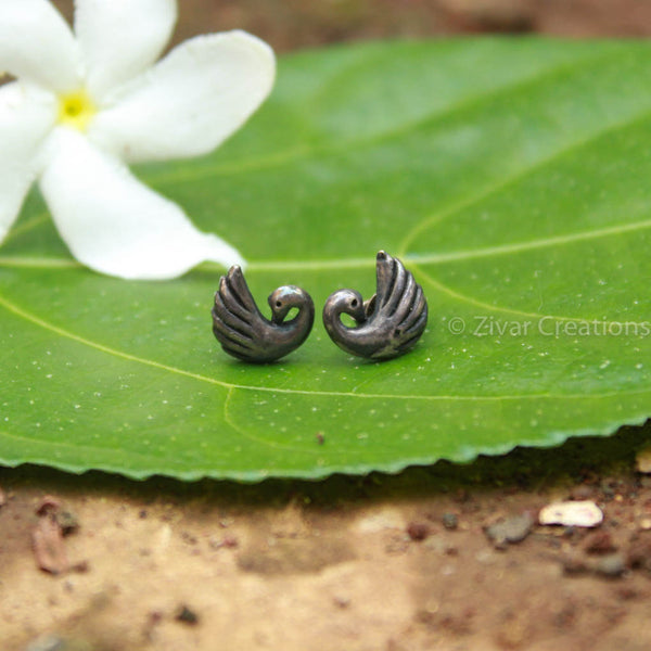 Pure Silver Handcrafted Peacock Stud
