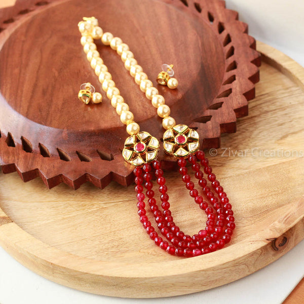 Kundan Red Beads And Pearl Necklace