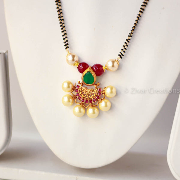 Pearl Red Green Pendant Mangalsutra