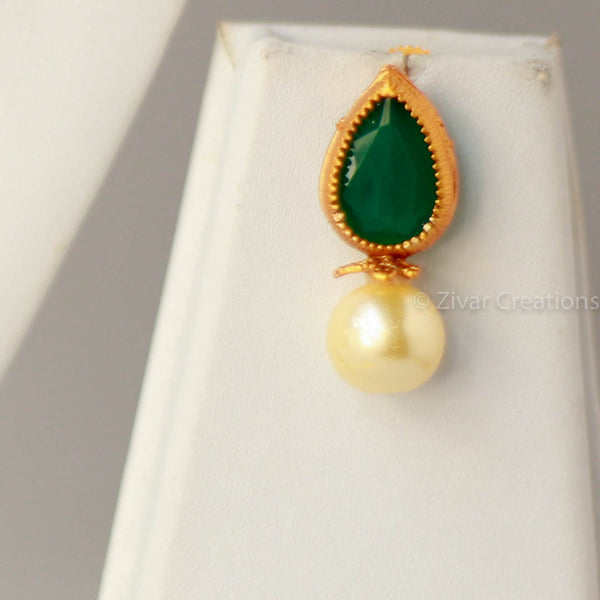 Pearl Red Green Pendant handcrafted Mangalsutra