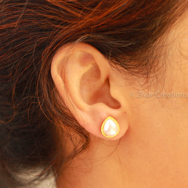 Drop Shape Pearl Stud Earring