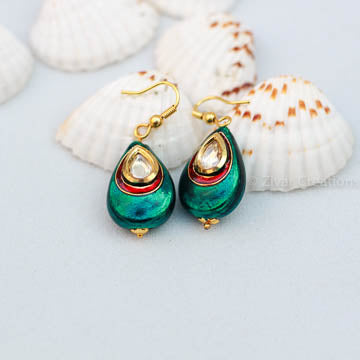 Peacock Blue and Maroon Kundan Studded Earring