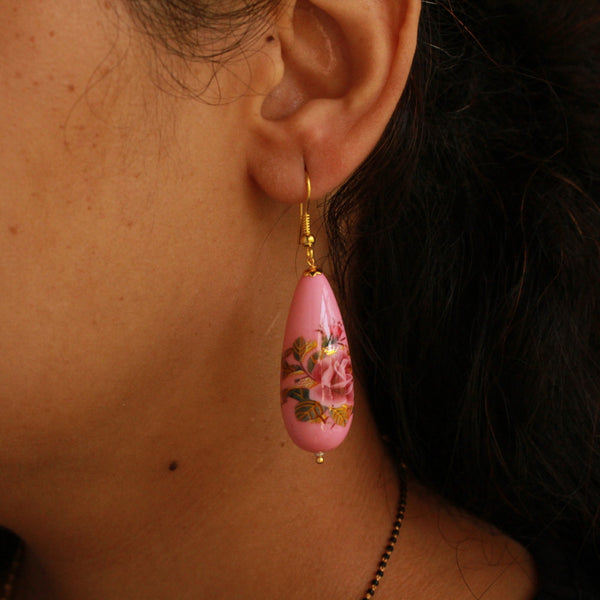 Pink Meena Long Earring